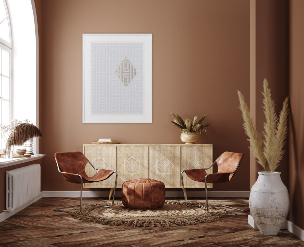 salon contemporain avec tableau brodé